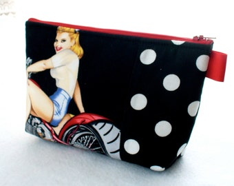 Hot Wheels Biker Babe Pin-Up Girl Rockabilly Fabric Large Pouch Cosmetic Bag Fabric Zipper Pouch Makeup Bag Alexander Henry Black White Red