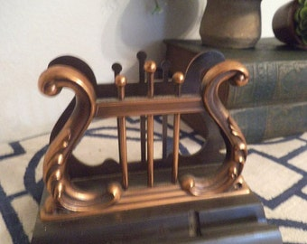 Vintage  Desk Set Cast Bronze with Copper Lyre Harp Letter Holder Pen Holder 1940