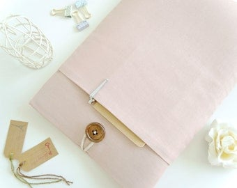 iPad Case, iPad Sleeve, iPad Pro Sleeve Case, iPad Pro Cover, Padded with Pocket, Custom Sizing Available - Blush Pink Linen