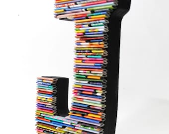 COLORFUL tabletop letter made with recycled magazines- colorful, unique, nursery decoration, name, alphabet, modern letter, wall hanging