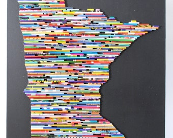 MEDIUM Recycled Magazine State wall art- you choose your own state, magazine colors, blue, green, red, purple, pink, yellow, orange