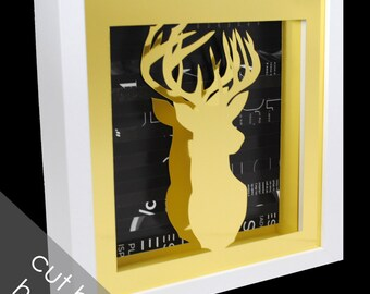 GOLD deer head in a WHITE shadowbox- made from recycled magazines, deer, modern,silhouette, colorful, recycled