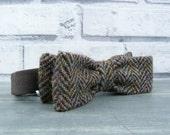 Harris Tweed Skinny Bow Tie - Autumnal Colours Herringbone