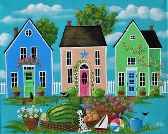 Dalmatian and Daisies ORIGINAL Folk Art Painting FREE Shipping