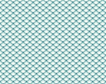"""Riley Blake Designs Shell in Aqua """"Lost and Found 2"""" by My Mind's Eye. 100% cotton"""
