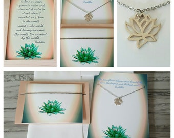 Gift set collection Lotus necklace sterling silver jewelry,  framed photo,lotus flower, greeting card, positive, inspirational, Christmas