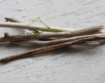 Set of 5 Skinny Driftwood Sticks for Beach Frame , Coastal Art Decor and Driftwood Mirror SMK5