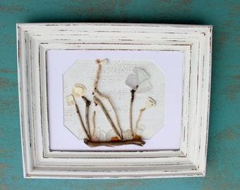 Reclaimed Driftwood & Seaglass Art , Vintage Frame , Mixed Media Fine Artwork for Coastal Decorating