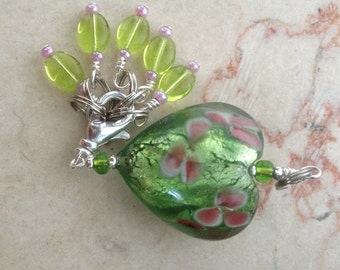 Apple Blossom - Stitch Marker Holder - Pendant - Five Free Stitch Markers Included - Matching Row Counter available