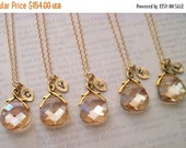 Bridesmaid Jewelry Set of 7 Crystal Golden Shadow Necklaces with Stamped Initial