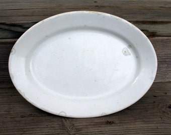 Late 1870's  to 1890's Royal Patent Ironstone Burgess and Goddard White Ironstone Oval Platter