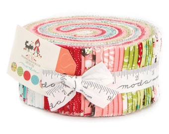 """Jelly Roll Lil Red Stacy Lest Hsu for Moda fabrics 2.5"""" precut strips IN STOCK little red riding hood"""