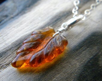Bright sterling silver orange brown Autumn leaf necklace - Handmade jewelry - Fall Fashion
