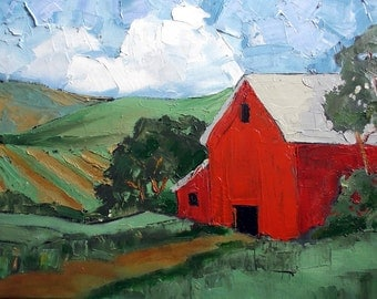 Original Impressionist Painting CALIFORNIA Plein Air Landscape RED BARN Farm Lynne French 12x16