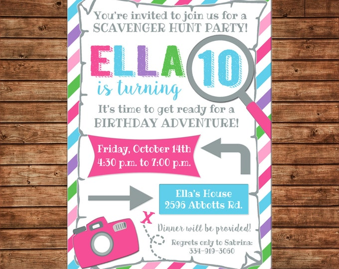 Girl Scavenger Treasure Hunt Camera Adventure Map Birthday Invitation - DIGITAL FILE