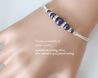 Dark Purple Bridesmaid Bracelet, Swarovski Regency Dark Purple Pearl Bridesmaid Bracelet, Bridal Bracelet, Bridesmaid Gift, Purple Wedding