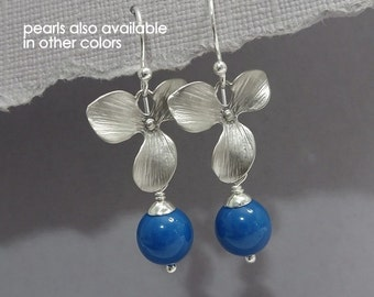 Lapis Pearl Earrings, Cerulean Blue Pearl and Silver Orchid Earrings, Bridesmaid Earrings, Bridesmaid Gift, Mother of the Bride Gift