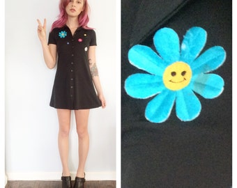 Vintage Groovy Smiley Button Up Dress