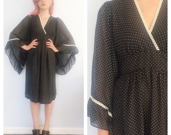 Vintage Black Polka Dot Kimono Dress