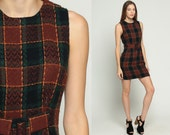 Mod Mini Dress 70s Shift Plaid BUCKLE School Girl Sleeveless Vintage 1970s Sheath Knit Brown Black Green Lolita Small