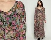 Sheer Floral Dress Button Down Maxi 90s Long Floral Grunge Gauze 1990s Boho High Waist Bohemian Vintage Pink Green Tent Small Medium
