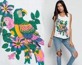 Bird Tank Top 90s Animal Print PARROT Neon Tropical Rainbow Low Armhole Wildlife Graphic Vintage Jungle 80s Cut Off Hipster Medium Large xl