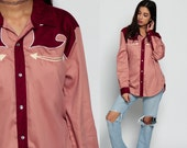 Western Shirt 70s PEARL SNAP Pink Blouse Arrow Pocket Hipster Top 1970s Vintage Button Up Burgundy Red Yoke Long Sleeve Rockabilly Large
