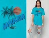 Jamaica Shirt PALM TREE Sun Graphic Tshirt Print Burnout Tee Rasta 80s Grunge Top Tshirt Surfer Vintage 1980s Beach Teal Blue Medium Large