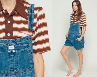 Calvin Klein Overalls Denim Overall Shorts CUTOFF 80s Shortalls CK Jeans 90s Grunge Jean Suspender Blue Woman 1990s Vintage Large