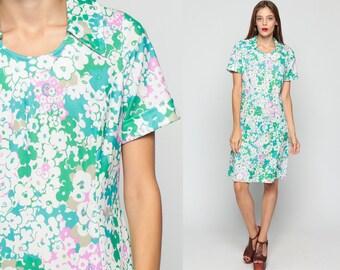 Mod Mini Dress Green FLORAL 60s Shift Flower Print 70s Hippie Vintage Retro Short Sleeve Collar Princess Seam Twiggy Large