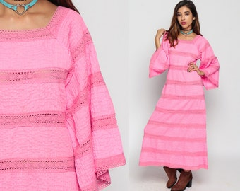 Crochet Dress Bohemian 70s Maxi MEXICAN Wedding LACE Sheer BELL Sleeve 1970s Pintuck Boho Hippie Vintage Hot Pink Cotton Small Medium