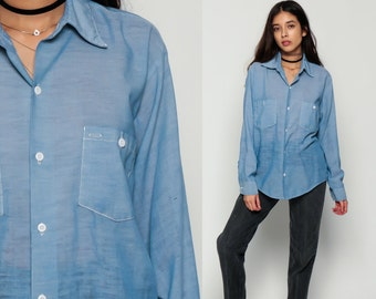 Oxford Shirt Chambray Shirt 70s Blue SHEER Button Up Topstitching Cotton 1970s Long Sleeve Vintage Paper Thin Hipster Boho Extra large xl