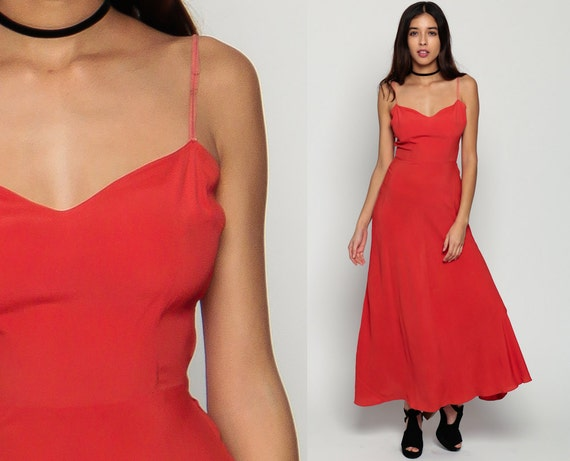 1940s Dress 40s Gown Party Spaghetti Strap Red Sleeveless V