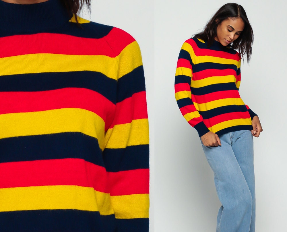 Turtleneck Sweater Striped Sweater 80s Funnel Neck Knit Long