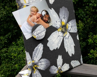 Desktop Magnetic Board, Orchid Decor, Magnetic Organizer,  Magnetic Planner, Magnet Photo Display, Yellow and Grey, Orchid