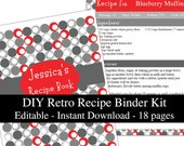 Red & Gray Retro printable recipe binder kit editable planner instant download recipe book DIY recipe organizer PDF