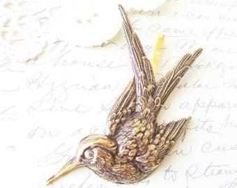 Ox Brass Sparrow Bobby Pin - Swallow Hair Pin - Woodland Hair - Wedding Hair Accessory - Bridal Hair Pin - Bird Hair Accessory - Take Flight