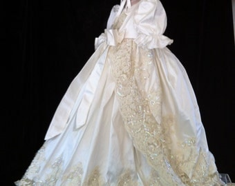 Oriana V with cascade coat. ivory silk Christening gown set by Angela West Handcrafted Heirloom gown set