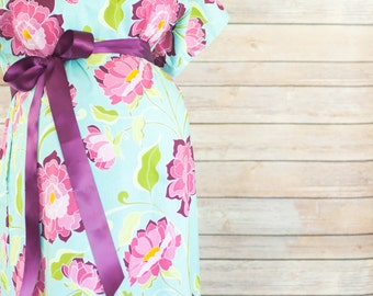 Rose Maternity Delivery Gown, Robe, Headband, and Burp Pad Bundle- Hospital set to make your delivery Picture Perfect!