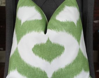 Duralee Pillow Cover, Ikat Decorative Pillow, Throw Pillow, Green Ikat, Green Geometric, Home Furnishing, Home Decor