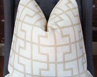 Schumacher Bleecker Pillow, Decorative Pillow, Throw Pillow, Toss Pillow, Home Furnishing, Home Decor, Taupe Trellis Pillow, Taupe Fretwork