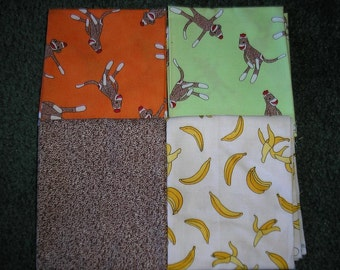 4 Fat Quarters   by Moda    Sock Monkey Fabrics