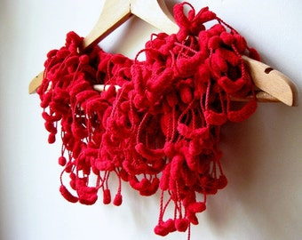 Red Cute Pom Pom Long Mulberry Scarf Christmas Gift Valentine's day