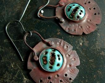 Rustic turquoise enamel, chestnut copper handmade dangle earrings by Vintajia Adornments