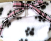 Dog Diapers Britches or Panties Ultra Soft Black Paws on White Fleece with Pink Plaid Ribbon