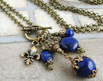 Blue Lapis Lazuli Antiqued Brass Long Necklace 28 inches, Gemstone Handmade Jewelry