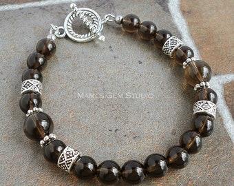 Smoky Quartz Men's Bracelet, Beaded Gemstone Jewelry for Men, Guys, Him, Dads, Mens Jewelry
