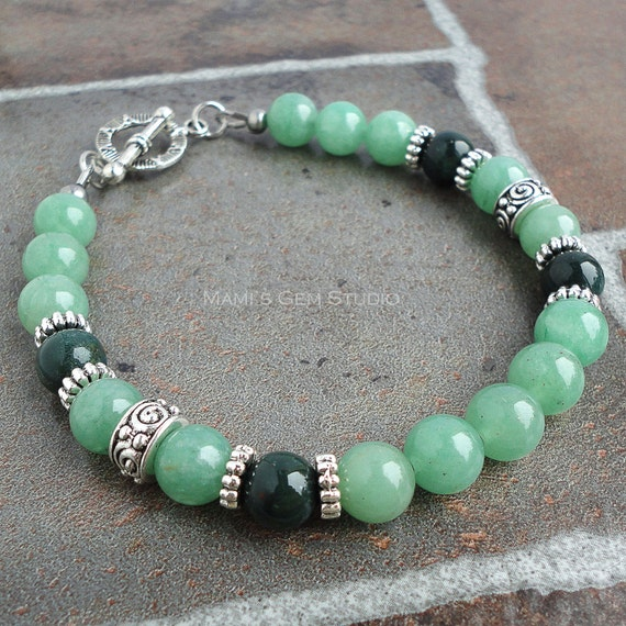 Mens Bracelet, Green Aventurine & Bloodstone, Mens Beaded Bracelet, Green Stone, for Men, Guys, Dad, Him