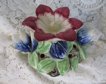 Flower Frog  Ceramic Water Lilly & Buds  Multi Color 8- Hole Flower Holder - Vintage Flower Vase Japanese