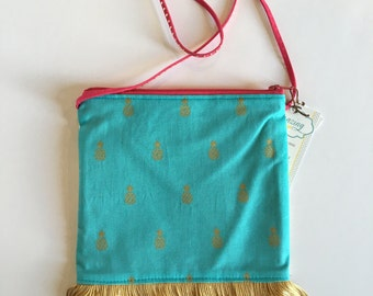 Little Girls Purse navy with pineapple teal and gold fringe